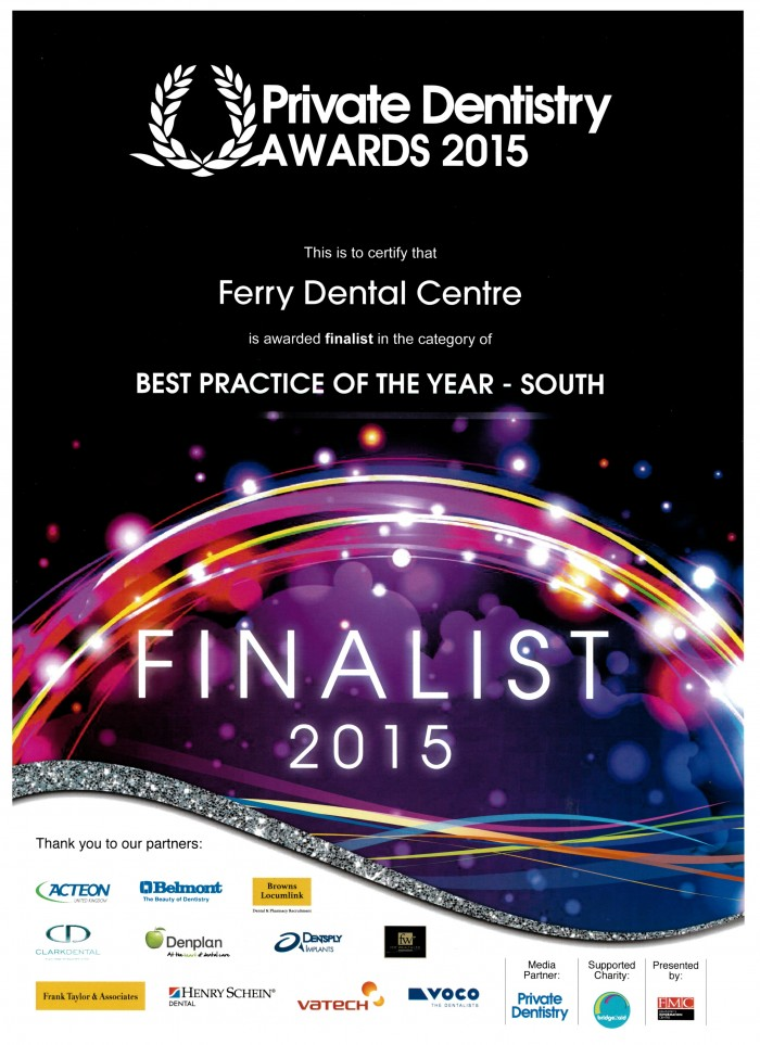 private dentistry finalist certificate